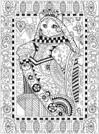 Cat Queen coloring book page