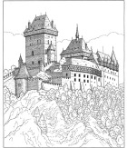 Castle coloring book style